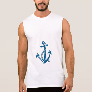 Nautical Navy Anchor with Rope, Cool Sleeveless Shirt