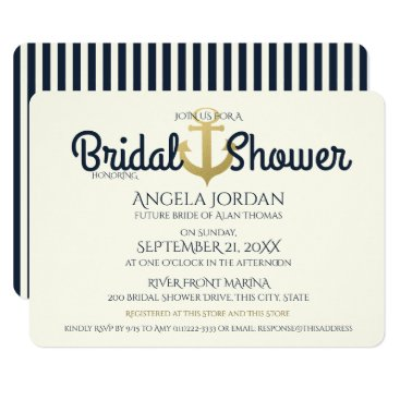 Beach Themed Nautical Navy and Gold Anchor Bridal Shower Card