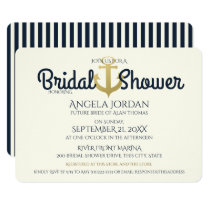 Nautical Navy and Gold Anchor Bridal Shower Invitation