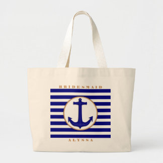 Nautical Navy and Tan Bridesmaid Name Gift Bag