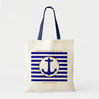 Nautical Navy and Tan Bridesmaid Name Gift Bag