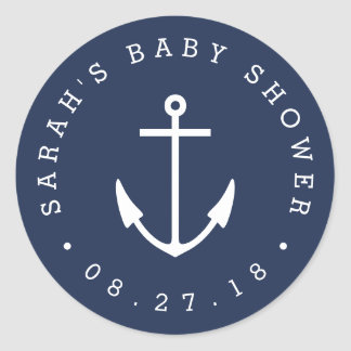 Nautical Navy and White Anchor Baby Shower Classic Round Sticker