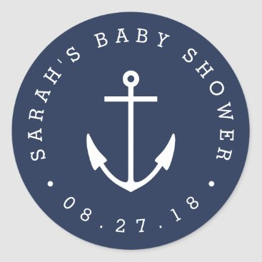 Toddler & Baby themed Nautical Navy and White Anchor Baby Shower Classic Round Sticker
