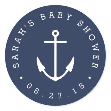 RedwoodAndVine Nautical Navy and White Anchor Baby Shower Classic Round Sticker
