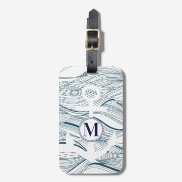 Nautical Navy and White Anchor Monogram Luggage Tag