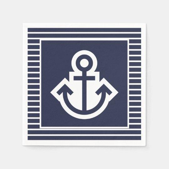 White 20 napkins per Pack Serviette blue Anchor Nautical Anchor blue