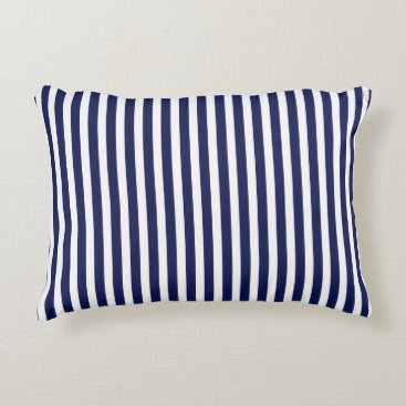 Beach Themed Nautical Navy and White Cabana Stripes Accent Pillow