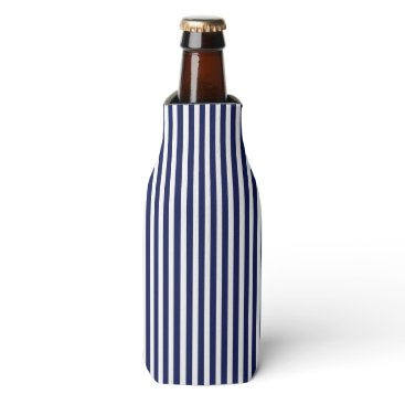 Beach Themed Nautical Navy and White Cabana Stripes Bottle Cooler