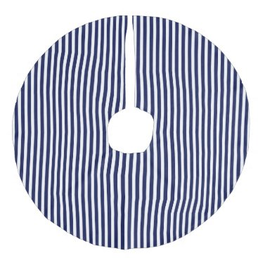Beach Themed Nautical Navy and White Cabana Stripes Faux Linen Tree Skirt