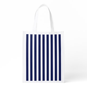 Beach Themed Nautical Navy and White Cabana Stripes Grocery Bag