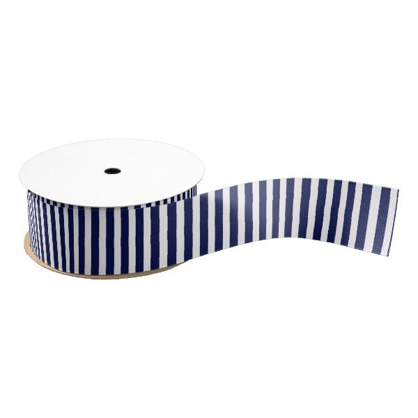 Nautical Navy and White Cabana Stripes Grosgrain Ribbon