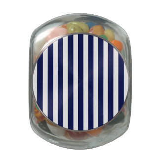 Nautical Navy and White Cabana Stripes Jelly Belly Candy Jars