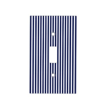 Professional Business Nautical Navy and White Cabana Stripes Light Switch Cover