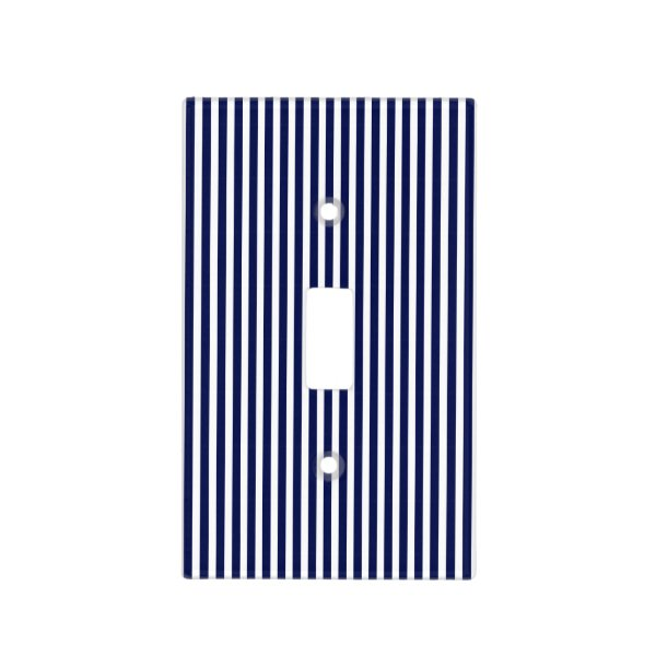 Nautical Navy and White Cabana Stripes Light Switch Cover