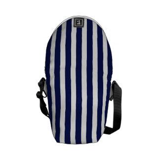 Nautical Navy and White Cabana Stripes Messenger Bag