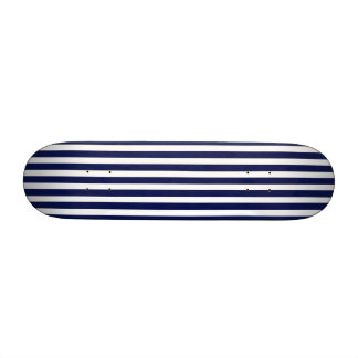 Nautical Navy and White Cabana Stripes Skateboard Deck