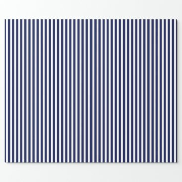 Beach Themed Nautical Navy and White Cabana Stripes Wrapping Paper