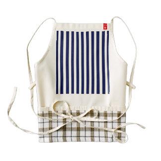 Nautical Navy and White Cabana Stripes Zazzle HEART Apron