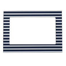 Nautical Navy and White Horizontal  Stripes Magnetic Picture Frame