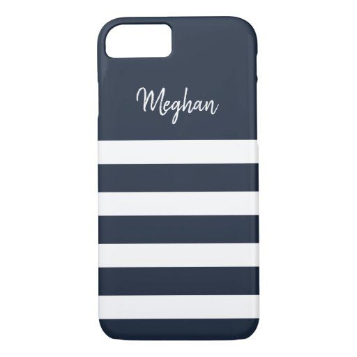 Nautical Navy and White Stripe iPhone Case