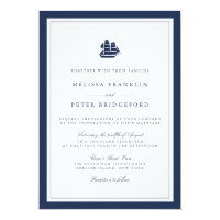 Nautical Navy and White Wedding Invitation | Ship