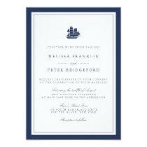 Nautical Navy and White Wedding Invitation   Ship