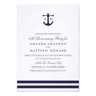 Nautical Navy Anniversary Party Invite