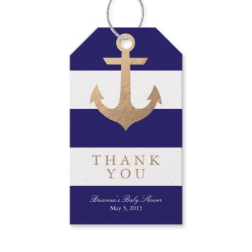 Beach Themed Nautical Navy Baby Shower Gift Tags