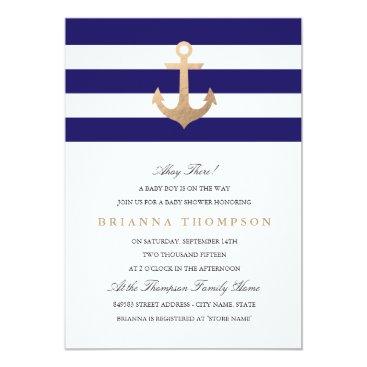 Toddler & Baby themed Nautical Navy Baby Shower Invitation
