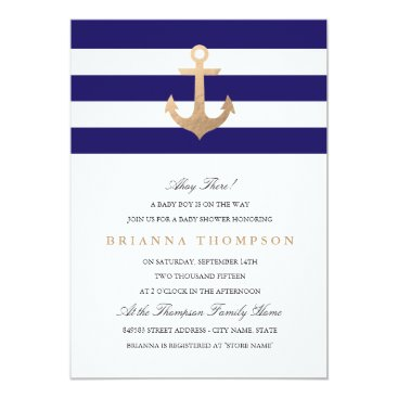 origamiprints Nautical Navy Baby Shower Invitation