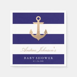 Nautical Navy Baby Shower Napkin at Zazzle