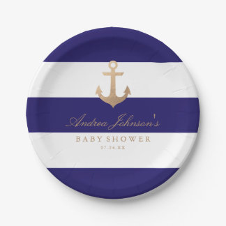 Nautical Navy Baby Shower Paper Plate