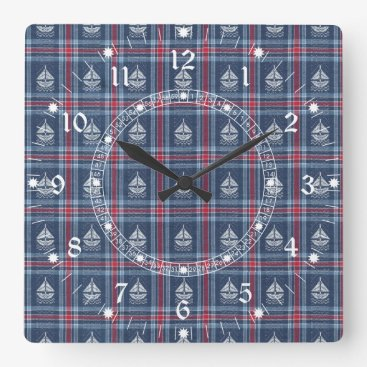 Beach Themed Nautical Navy Background Square Wall Clock