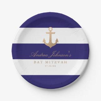 Nautical Navy Bat Mitzvah 7 Inch Paper Plate