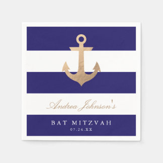 Nautical Navy Bat Mitzvah Standard Cocktail Napkin
