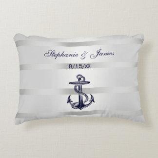 Nautical Navy Blu Anchor Silver White Decorative Pillow
