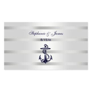 Nautical Navy Blu Anchor Silver Wht Escort Cards