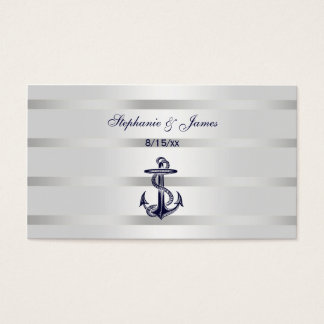 Nautical Navy Blu Anchor Silver Wht Escort Cards