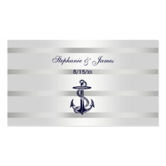 Nautical Navy Blu Anchor Silver Wht Escort Cards Business Card Template