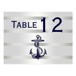 Nautical Navy Blu Anchor Silver Wht H Table Number Postcard