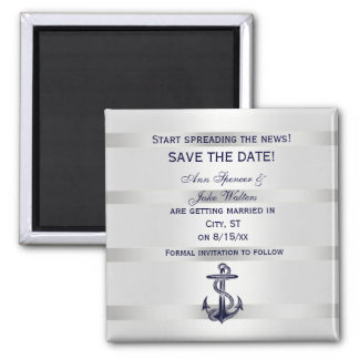Nautical Navy Blu Anchor Silver Wht Save the Date Refrigerator Magnets