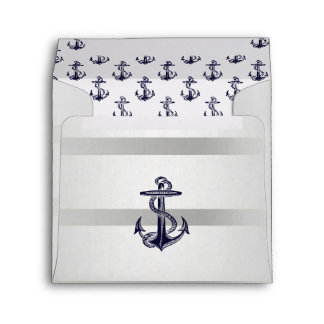 Nautical Navy Blu Anchor Silver Wht SQ Envelope