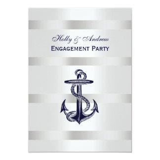 Nautical Navy Blu Anchor Silver Wt BG V Engagement Card