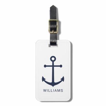 Nautical Navy Blue Anchor and Custom Name Bag Tag
