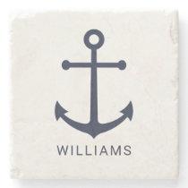 Nautical Navy Blue Anchor and Custom Name on White Stone Coaster
