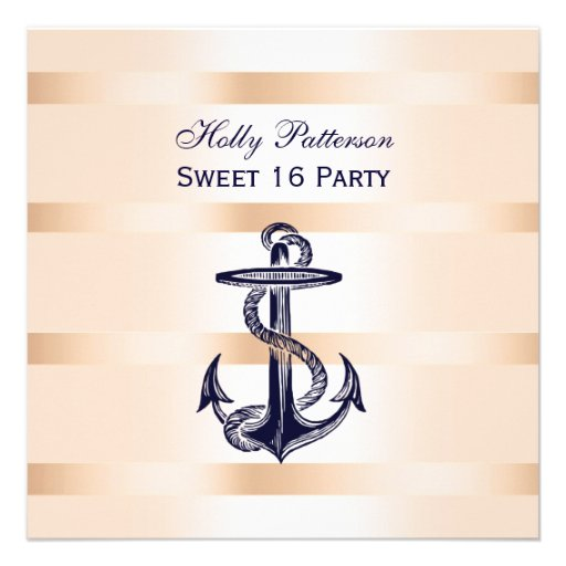 Nautical Navy Blue Anchor Baby Pink BG SQ Sweet 16 Personalized Invitation