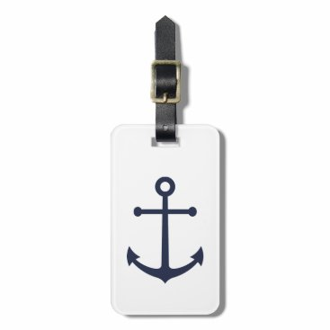 Nautical Navy Blue Anchor Bag Tag