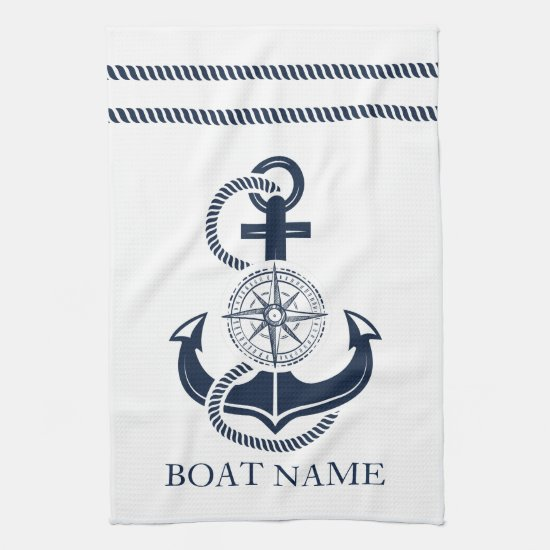 Nautical Navy Blue Anchor Boat Name Kitchen Towel
