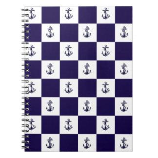 Nautical Navy Blue Anchor Checker Board Note Books
