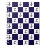 Nautical Navy Blue Anchor Checker Board Spiral Notebook